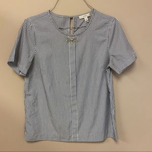 JCREW jeweled bow striped cotton ss top size 4